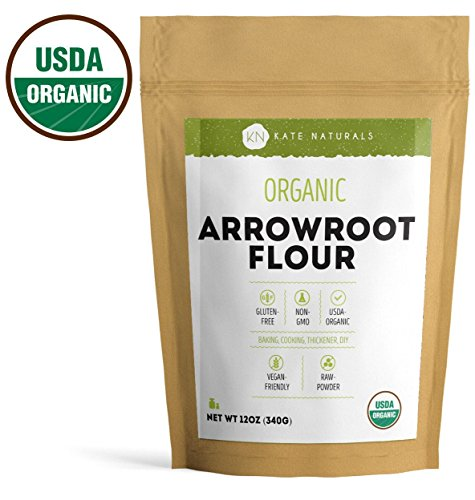Arrowroot Powder - Arrowroot Powder Organic - Kate Naturals. Perfect For Baking, Cooking, Thickening Sauces and Gravy. Resealable Bag. Gluten-Free and Non-GMO. 1-Year Guarantee (12oz)