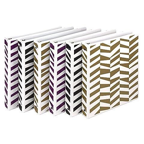 Samsill Fashion Design 3 Ring Binder, Abstract Geo Print, 1 Inch Round Rings, Assorted Colors (Purple, Black, Metallic Gold), Bulk Binders - 6 (Binders 3 Ring Fashion)