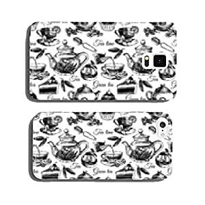 Tea and cake seamless pattern. Hand drawn sketch vector cell phone cover case Samsung S5