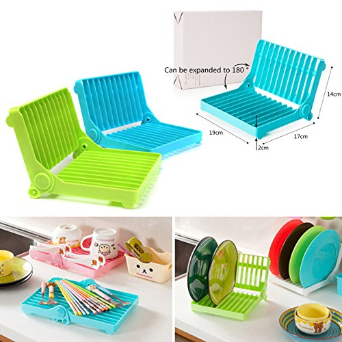 Kitchen Plastic Foldable Dish Plate Drying Rack Organizer Dr