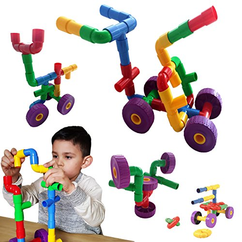 Skoolzy Kids Toys 30 pc Pipe & Joint Construction Sets. Educational Toys for Toddler 3, 4 and 5 year old Boys and Girls. Best STEM Engineering Design Building Blocks Sets.– Fine Motor Skills