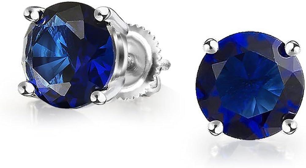 0.50 Ct Zirconio Cúbico Redonda Azul Brillante CZ Solitario Pendiente De Boton Plata De Ley 925 Zafiro Simulada