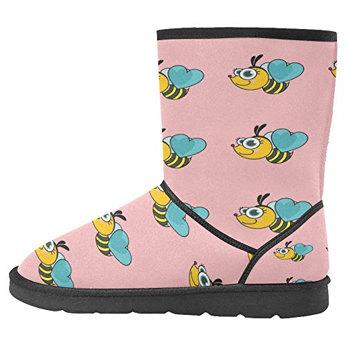 InterestPrint Womens Snow Boots Unique Designed Comfort Winter Boots Bees Pattern Multi 1