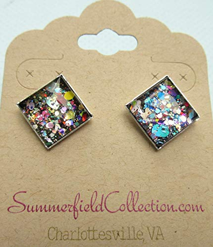 - Silver-tone Black and Multi-Color Confetti Glitter Glass Stud Earrings Hand-painted Square 12mm