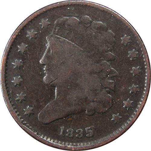 1835 1/2c Classic Head Half Cent Penny US Coin VG Very Good