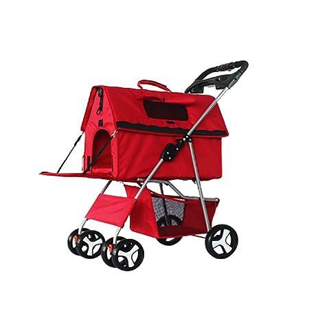 SHSHKO Carrito Plegable Impermeable para Mascotas Perros Gatos Animales Pequeños Color Rojo 4 Ruedas Giratorios,