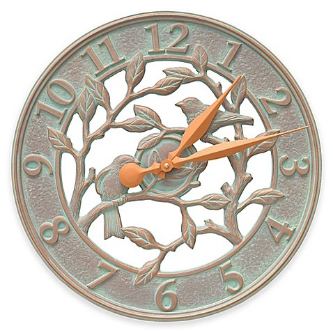 Whitehall Products Woodridge 16-Inch Indoor/Outdoor Wall Clock in French Bronze