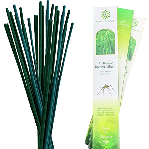 3-Pack Double Strength Great Aroma. Lasts 2.5 Hours per Stick Reusable Natural Mosquito Repellent Incense Sticks Citronella,Lemongrass, and Cinnamon Oils. Amazing Value!