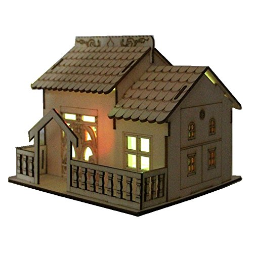 Xerhnan Creative wooden house, villa, small courtyard, band lamp, money box, piggy bank, boy friend, girlfriend, children, birthday (Etsy Handmade Halloween Cards)