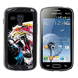 LECELL -- Funda protectora / Cubierta / Piel For Samsung Galaxy S Duos S7562 -- Cool Awesome Fierce Neon Tiger --