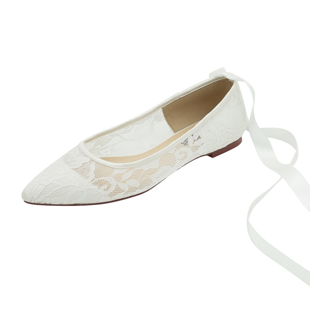 ERIJUNOR E2182C Women Wedding Flats Pointed Toe Ribbon Tie Lace Comfort Shoes for Bride Ivory Size 8