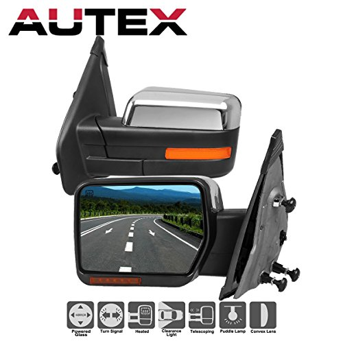AUTEX Pair Chrome Towing Mirrors Power Heated LED Signal & Puddle Light Compatible With 2004-2014 Ford F-150 Truck