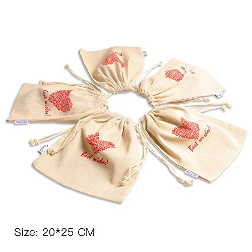 Cotton Drawstring Bags Jewellery Coin Pouch Linen, 5 Pack 20x25 CM Medium Holiday Wedding Gift Bags, Reusable & Multipurpose, Perfect for Gadget Storage