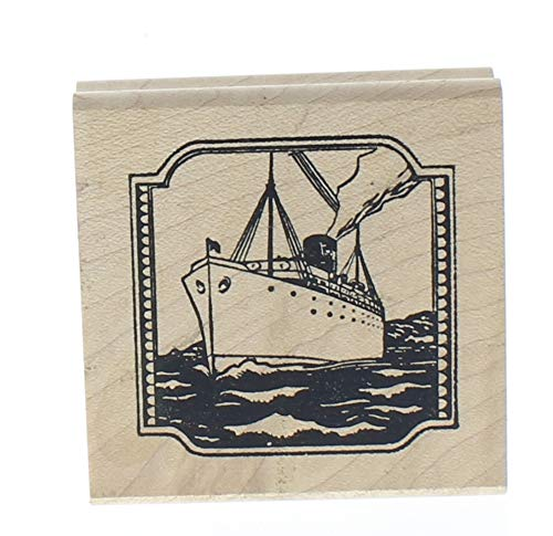 (Tin Can Mail Ocean liner Oil Tanker Ship Wooden Rubber Stamp)