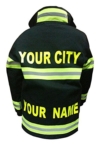 Aeromax Personalized Jr. Firefighter Suit/Bunker Gear, Black or TAN, (8/10, Black)]()