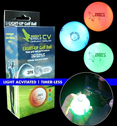 Night Eagle CV LED Golf Balls - Light Activated - No Timer - 3 Pack]()