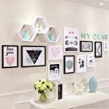 Solid wood photo wall / grid small fresh photo frame wall combination / shelf / photo wall photo frame wall 11 box 240 100cm ( Color : B )