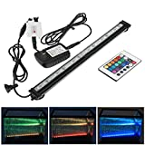 Xcellent Global Aquarium Bubble Light 18 Inch 27 RGB LED Multi-Color Remote Underwater Submersible Fish Tank Light Air Pump Bubble Light Strip Bar & Airstone for Fish Tank LD063S