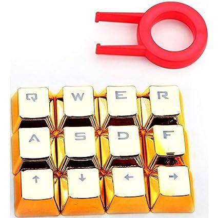 Redragon A103GD A103 Gold Universal 12 Keycaps Juego con Extractor de cuñas para Teclado de Juegos