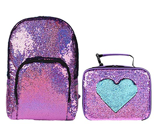 Flip Sparkle Reversible Sequin School Bag Backpack for Girls with Insulated Sequin Lunch Box Tote Bag, Food&Lunch Containers with Wispeable Interior, Fun&Fashion, Set of 2 (Violet/Light Blue)