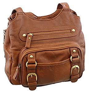 Concealed Carry Purse - Genuine Leather Locking CCW Gun Bag - Left and Right-hand Draw, Tan