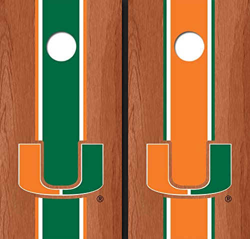University of Miami Orange Rosewood Alternating Long Strip Cornhole Boards - Um-1019