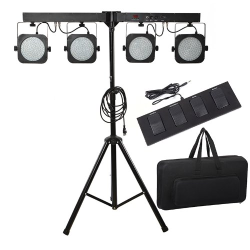 Kingzer 4 BAR RGB DMX-512 LED Stage Light System DJ Party Par Wash Effect Light Tripod from KINGZER