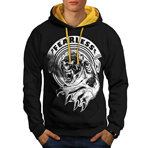 [Fearless Wild Animal Tiger Bear Men S Contrast Hoodie | Wellcoda] (Bear Jew Costume)