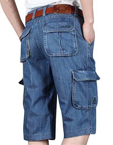 Fensajomon Men's Fashion Multi-Pockets Loose Fit Capri Pants Cargo Denim Shorts Jeans Light Blue 36 -