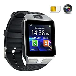 Hangang SmartWatchCameraBluetoothTouchScreenPhoneSports Bracelet foriPhoneAppleIOSSamsungAndroidCellPhoneswithPedometer,DialCall,MessageReminder4ColorsDZ09 (silver)