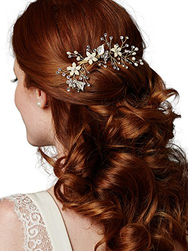 Mariell Handmade Gold Bridal Hair Comb with Silvery Golden Leaves, Freshwater Pearls & Crystals Sprays ()