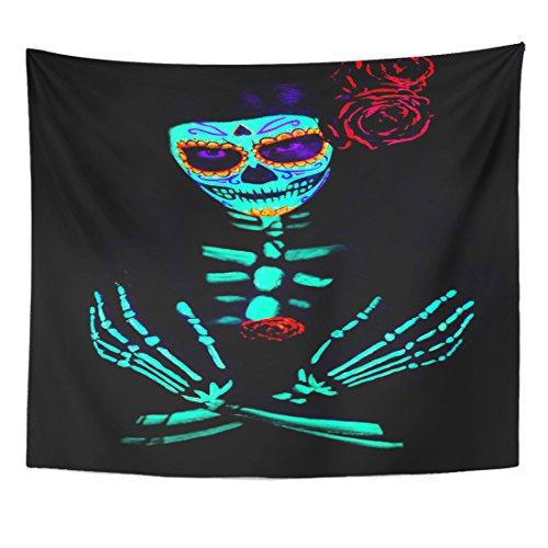 TOMPOP Tapestry Young Girl Santa Muerte Saint Death Sugar Skull Bright Home Decor Wall Hanging for Living Room Bedroom Dorm 50x60 -