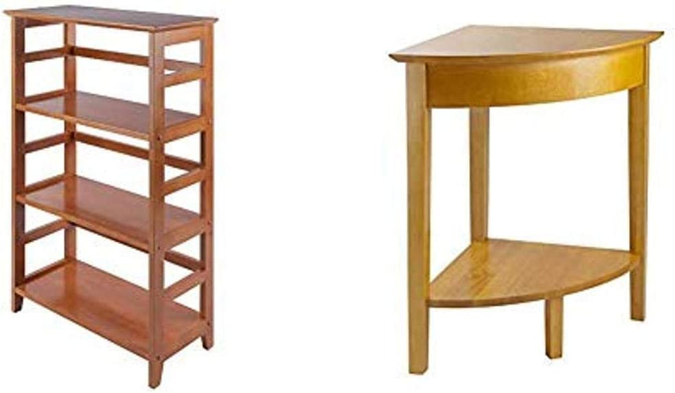 Winsome Wood Studio Shelving, Honey & Wood Corner Desk with Shelf, Honey