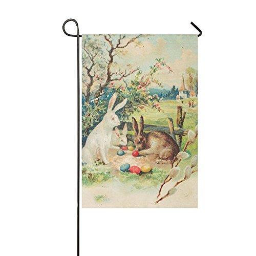 InterestPrint Vintage Spring Bunny Rabbits Polyester Garden Flag Banner 12 x 18 (Bunny Decorative Flag)