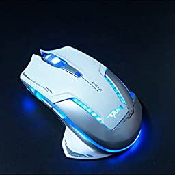 E-Blue Mazer II Professional LED Optical 2500 DPI Wireless Gaming Mouse Mice for PC, MAC (White)