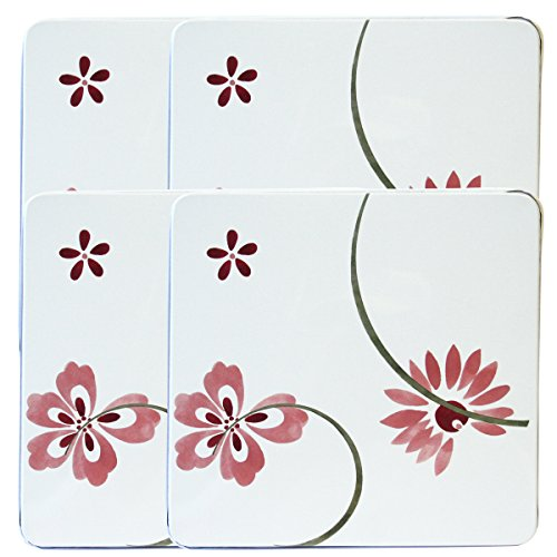 Corelle Coordinates by Reston Lloyd Square Gas Stovetop Burner Covers, Set of 4, Pretty Pink ()