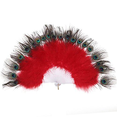 BABEYOND Roaring 20s Vintage Style Peacock & Black Marabou Feather Fan Flapper Accessories (Marabou Flapper Fan)