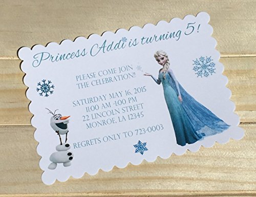 Set of 10 Girls Birthday Party Invitations Frozen Elsa and Olaf Birthday Party -