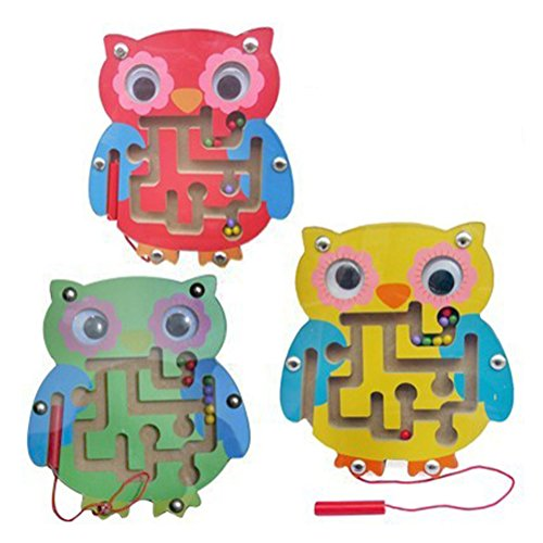 1 PC Educational Kids Toys Magnetic Maze Wooden Activity Magnet Beads Puzzle Toys (Owl(Random Color))