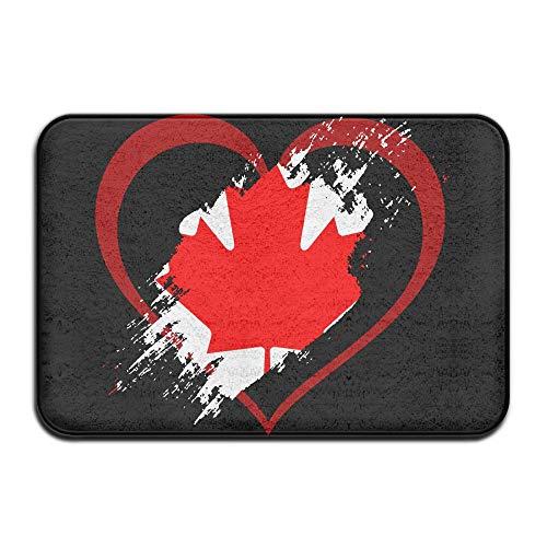 Canada Flag Heart Shape Indoor Outdoor Entrance Rug Non Slip BathMats Doormat Rugs for Home by HONMAt-Non (Image #1)