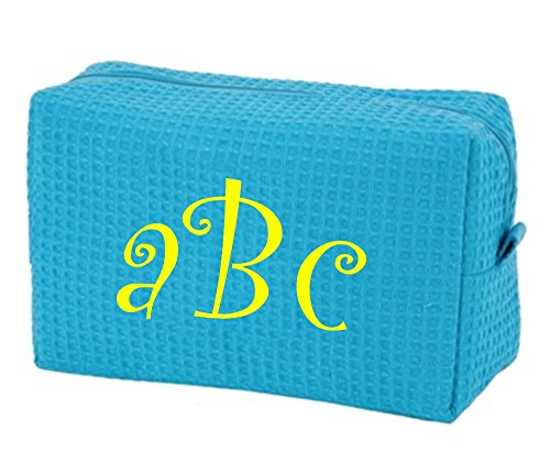 Monogrammed Cotton Waffle Large Cosmetic Bag (Electric Blue