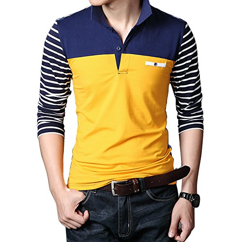 Wishere New Men's Fashion T-shirt Cotton Long-sleeved Polo Shirt - Yellow Long Sleeved Shirt