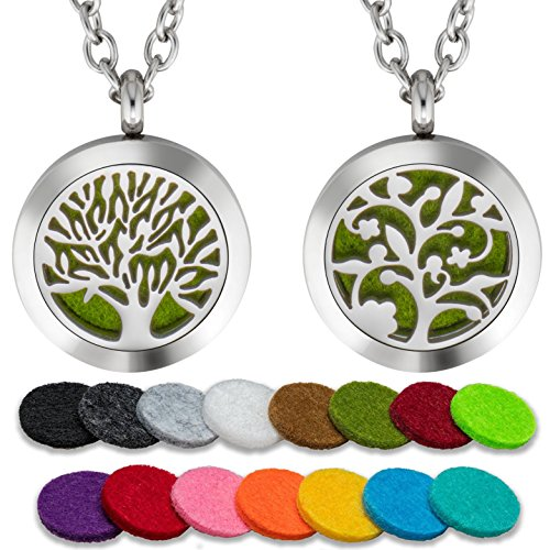 iffuser Necklace Set Tree Patterns Aromatherapy 25mm Stainless Steel Locket Pendant with 24 Inch Adjustable Chain, 30 Washable Refill Felt Pads. ()