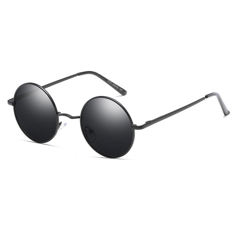Round Steampunk Sunglasses Polarized for Women and Men Steam Punk Circle Metal Frame Coating Sun Glasses,Blackgrey,49