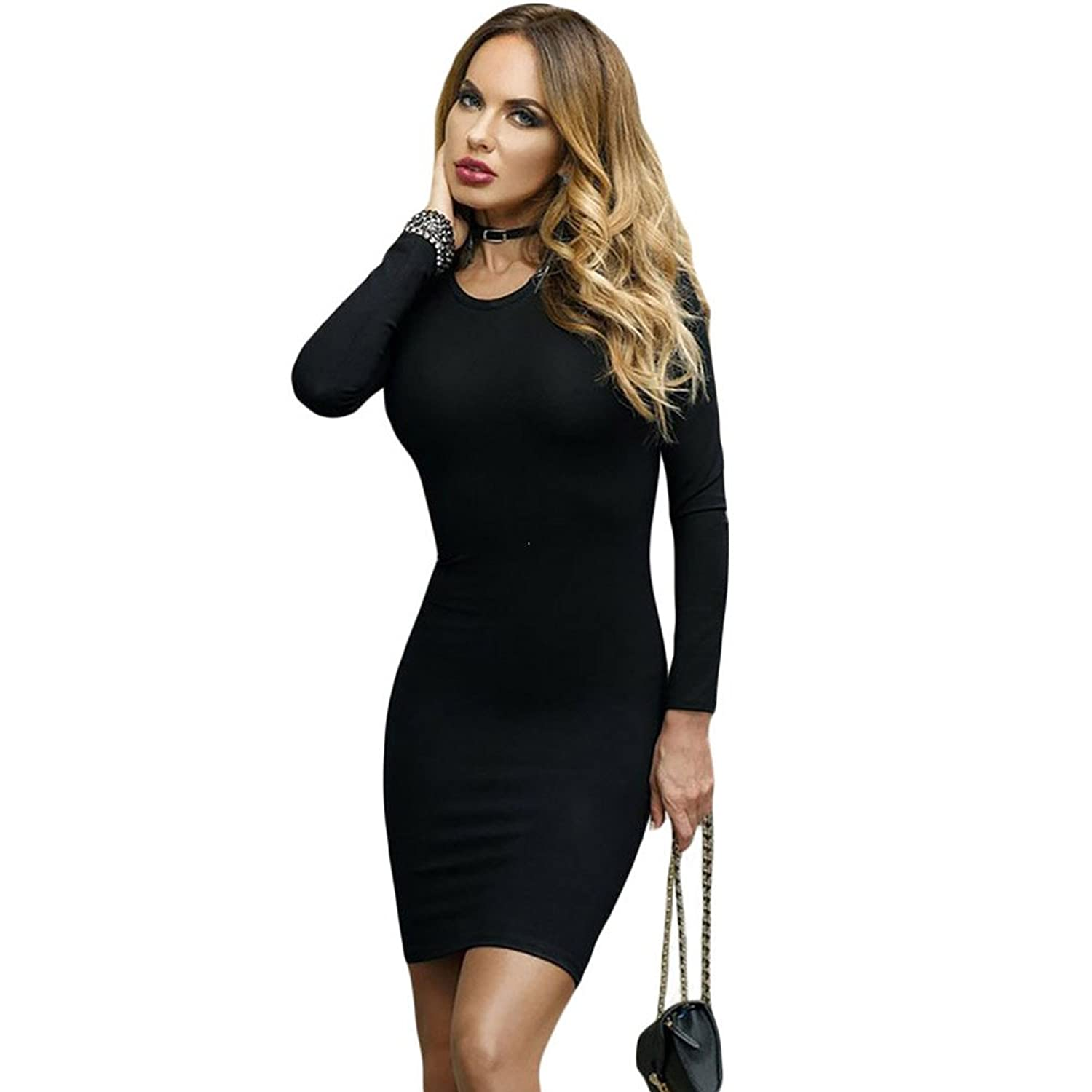 BENNINGCO Womens Lace Up Back Long Sleeve Bodycon Mini Dress