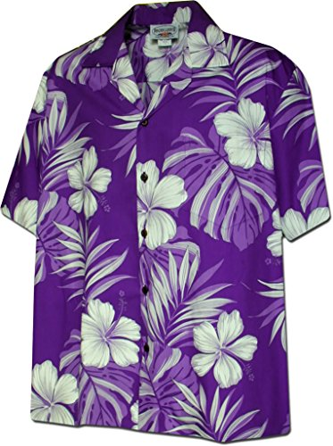 Shirt Hibiscus Hawaiian (Hibiscus Blossom 100% Cotton Hawaiian Shirt Purple XL 410-3589)