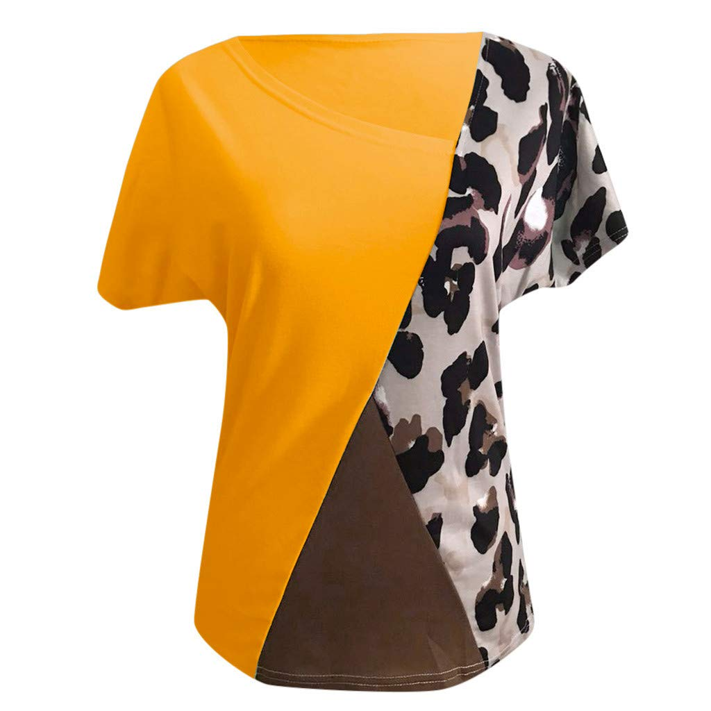 Claystyle Plus Size Women Red Asymmetric Neck Patch Pocket Color Block Leopard T-Shirts by Claystyle Tops (Image #3)