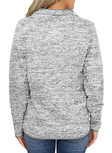 AKEWEI Women's Casual Stand Collar Sweatshirt Long Sleeve Quarter Zip Pullover Tops with Pockets