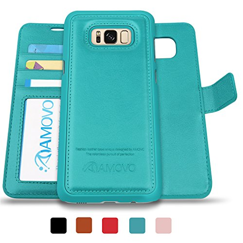 AMOVO Galaxy S8 Plus Case, Samsung S8 Plus Wallet Case [Detachable Wallet Folio] [2 in 1] [Premium Vegan Leather] Samsung S8 Plus Case Leather with Gift Package (Aqua) - Leather Case Bundle