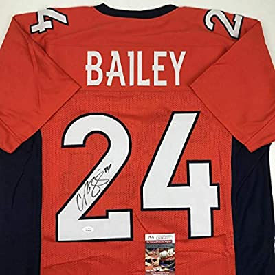 check out a195a f7561 Autographed Champ Bailey Jersey - Orange COA - JSA Certified ...